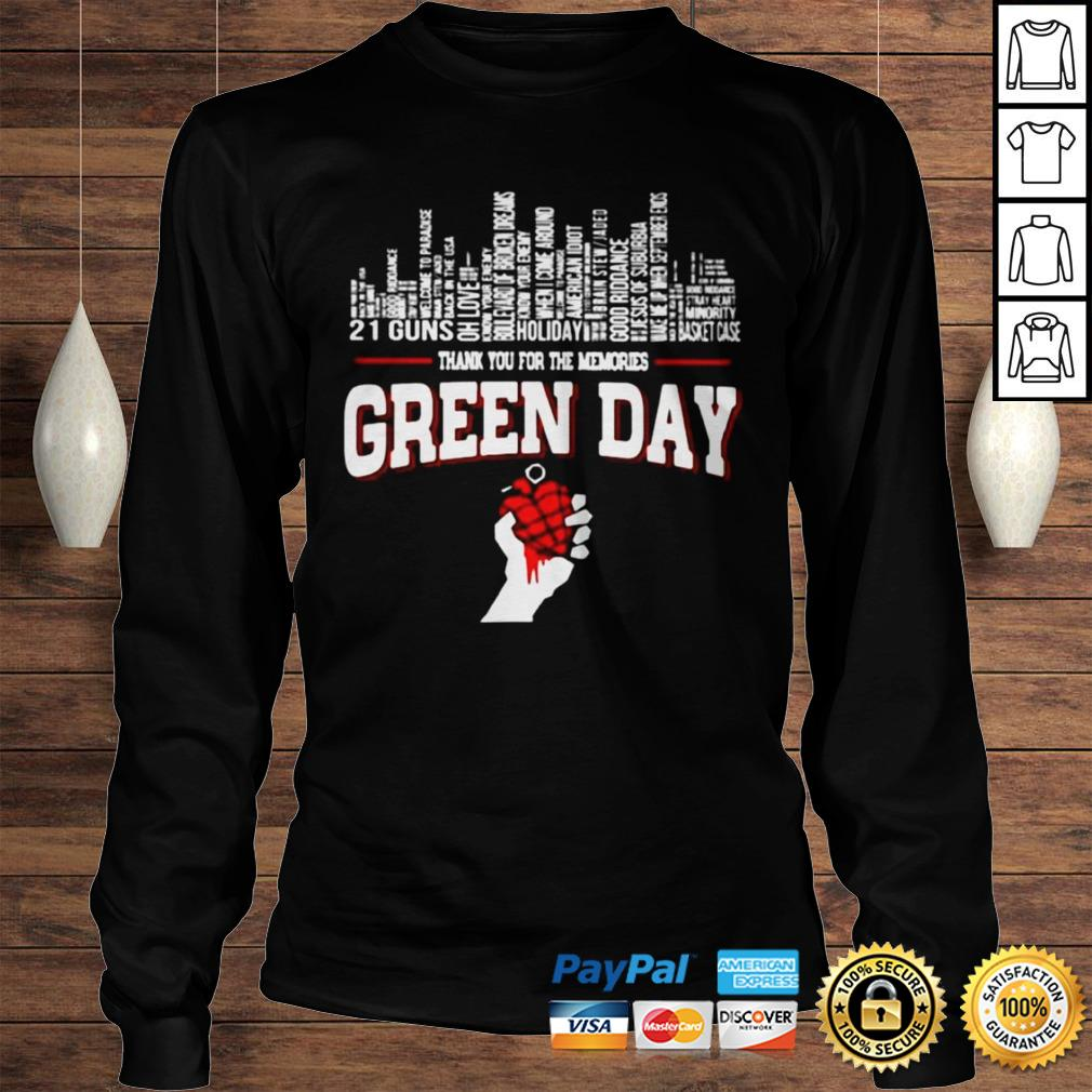 Thank you for the memories Green Day city songs shirt Longsleeve Tee Unisex