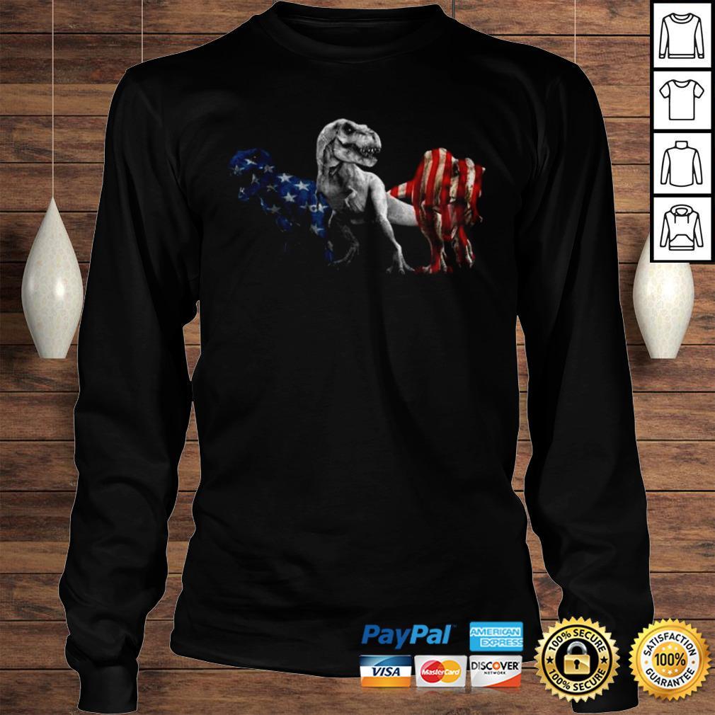 Trex Dinosaur American Flag 4th Of July Shirt Longsleeve Tee Unisex