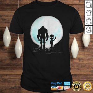 Bigfoot and alien under the moon shirt Shirt