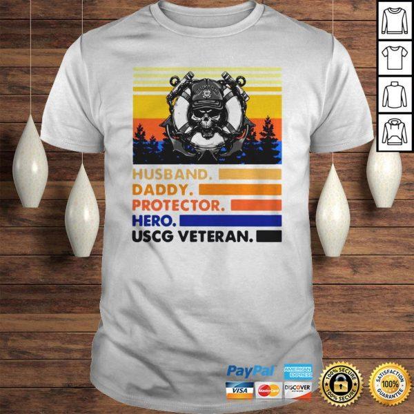 Husband Daddy Protector Hero USCG Veteran Vintage TShirt