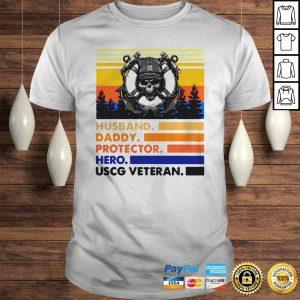 Husband Daddy Protector Hero USCG Veteran Vintage TShirt Shirt