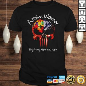 Skull America Flag Autism warrior fighting for my son shirt Shirt