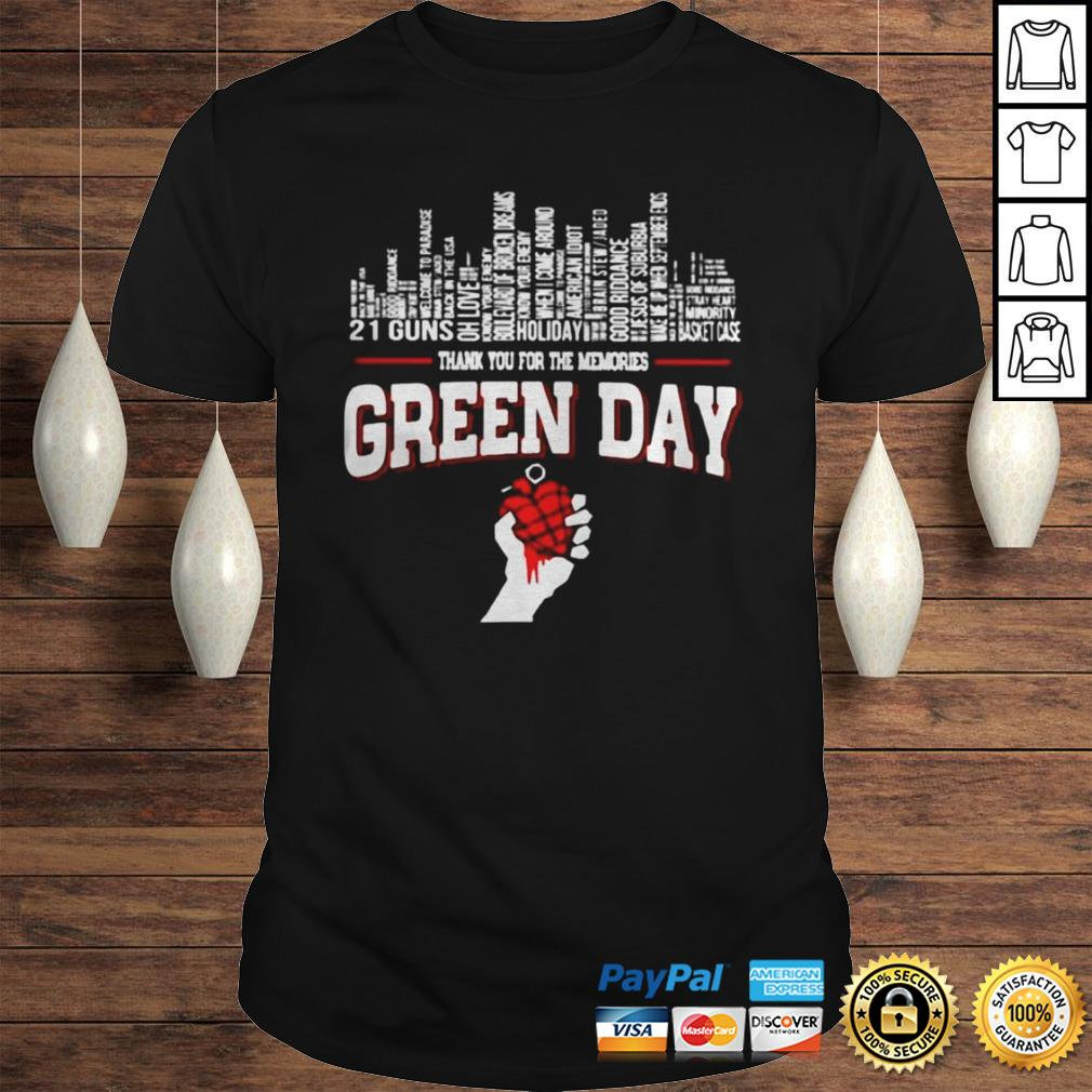 Thank you for the memories Green Day city songs shirt
