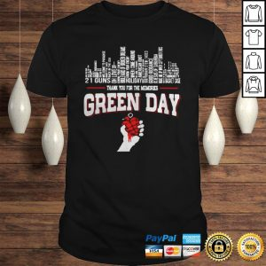 Thank you for the memories Green Day city songs shirt Shirt