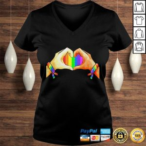 Hand language heart Rainbow shirt Ladies V-Neck