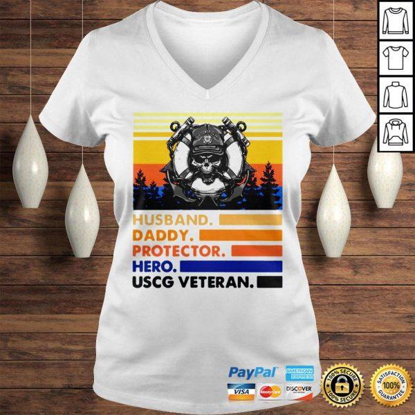 Husband Daddy Protector Hero USCG Veteran Vintage TShirt Ladies V-Neck