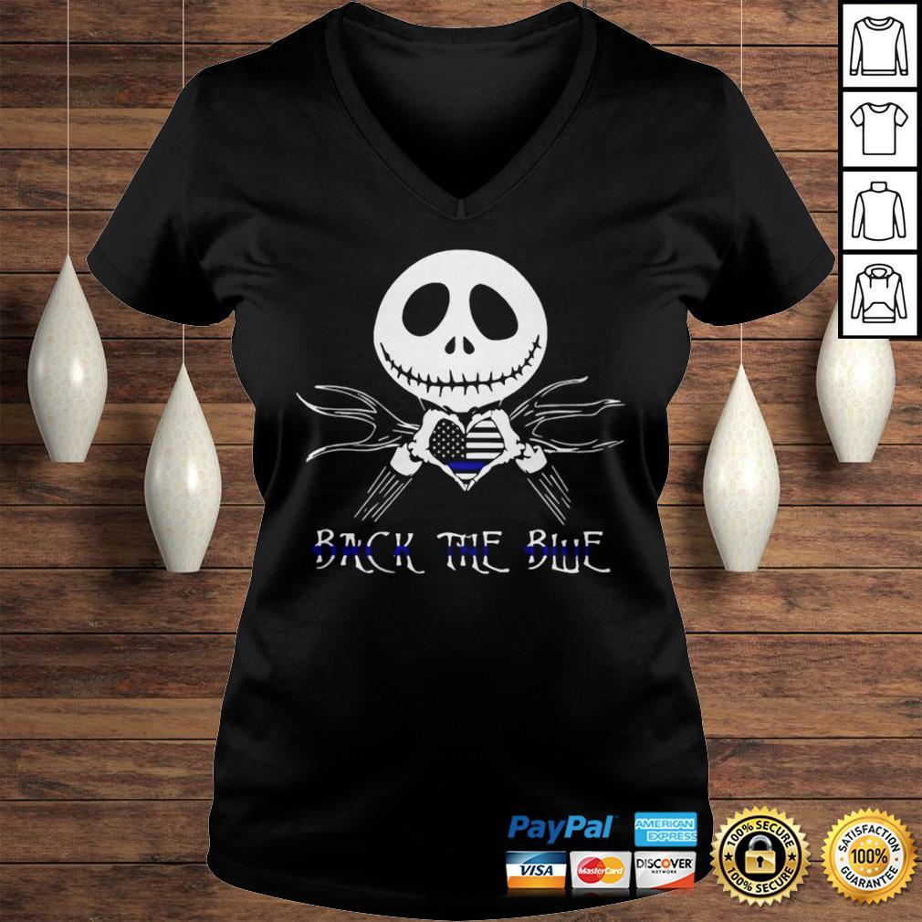 Jack Skellington Back The Blue American Flag Shirt Ladies V-Neck