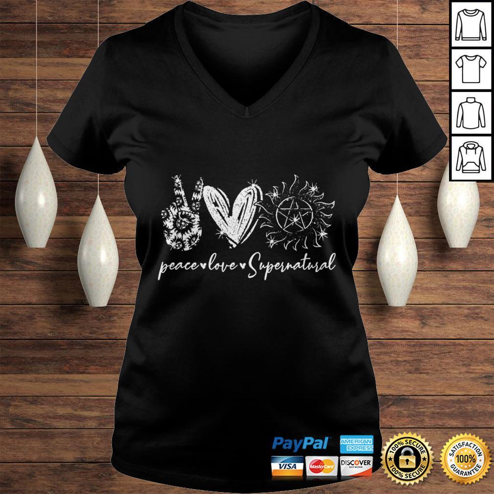 Peace love supernatural shirt Ladies V-Neck