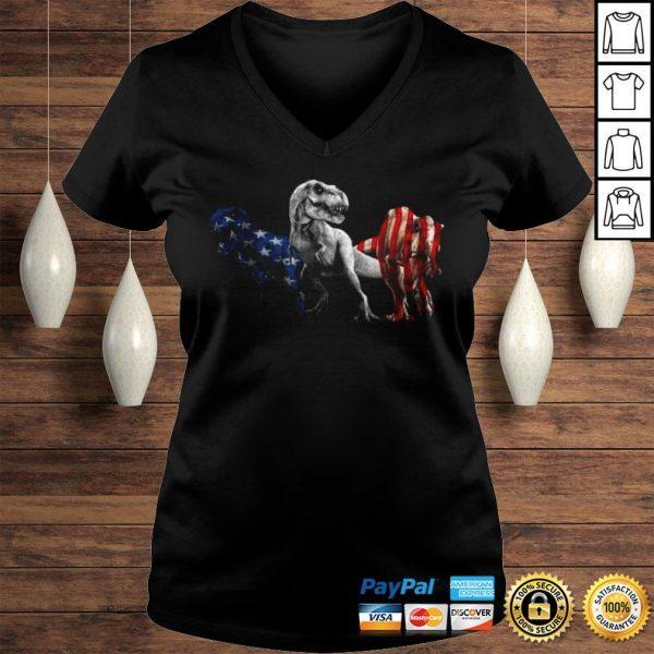 Trex Dinosaur American Flag 4th Of July Shirt Ladies V-Neck