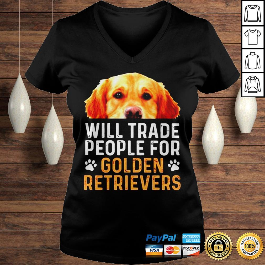 Will trade people for Golden Retrievers shirt Ladies V-Neck