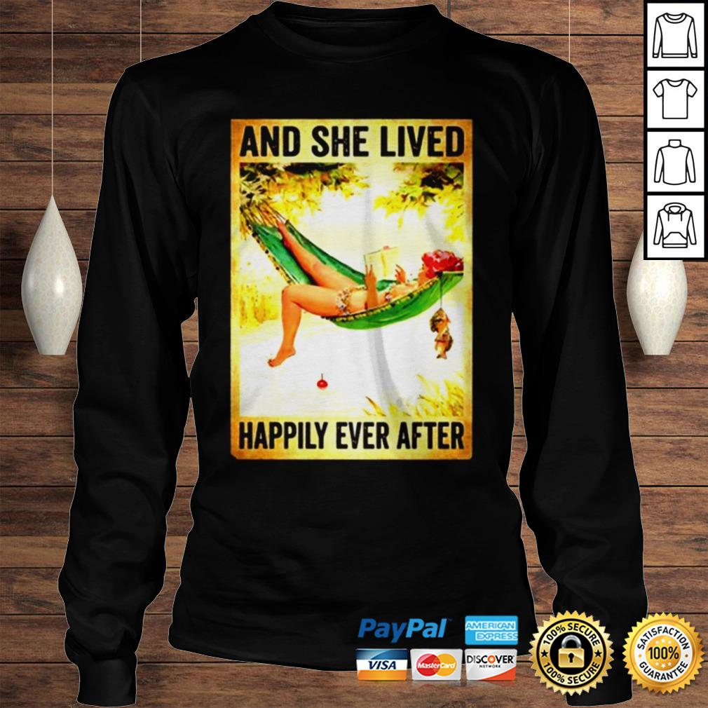 Hammock Beach Woman Fishing And she lived happily ever after shirt Longsleeve Tee Unisex