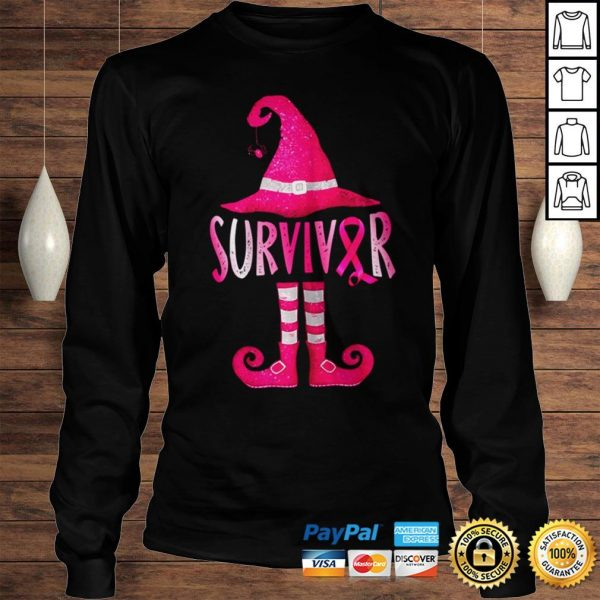 Womens Breast Cancer Survivor Funny Witch Halloween Costume shirt Longsleeve Tee Unisex