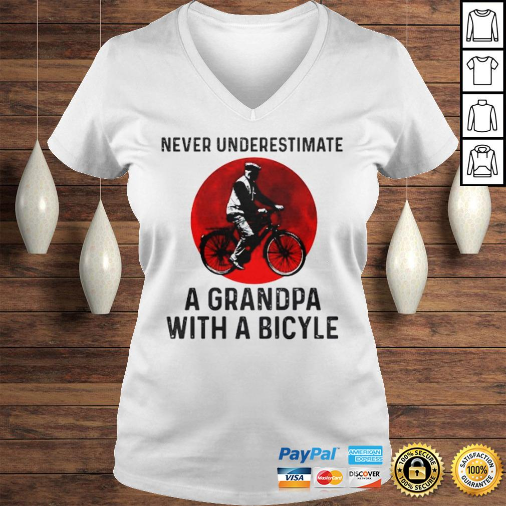 Never Underestimate A Grandma With A Bicycle Shirt Ladies V-Neck