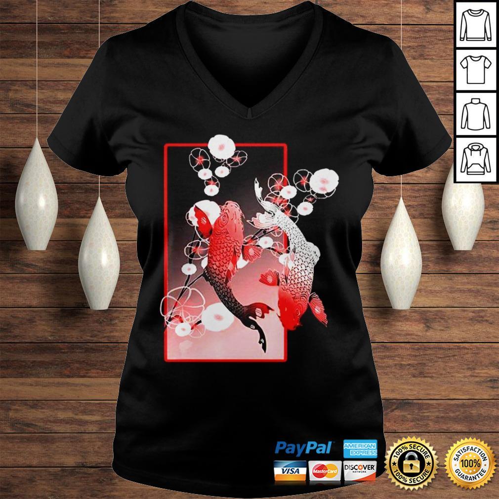 Sakura Cherry Blossom Koi Fish Shirt Ladies V-Neck