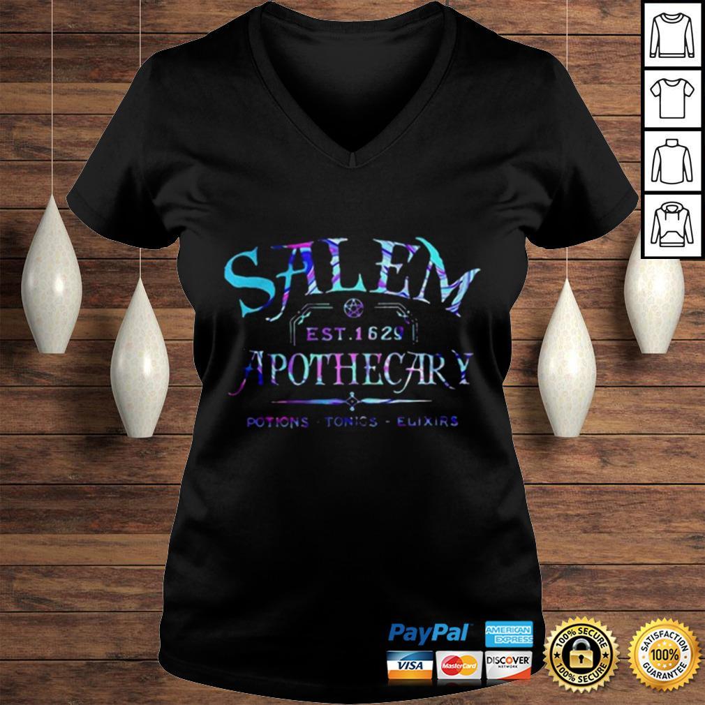 Salem est 1629 apothecary potions tonics elixirs color shirt Ladies V-Neck