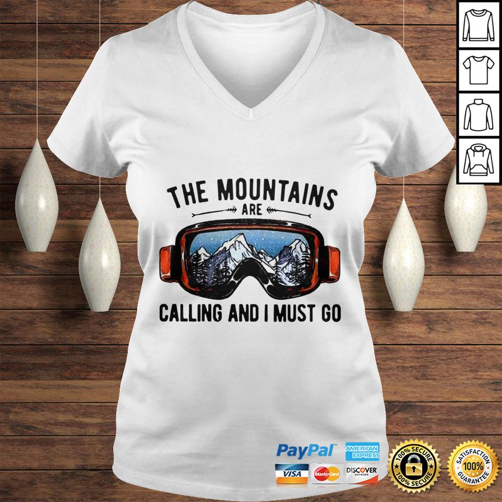 Skiing Sunglasses The Mountains Are Calling And I Must Go shirt Ladies V-Neck