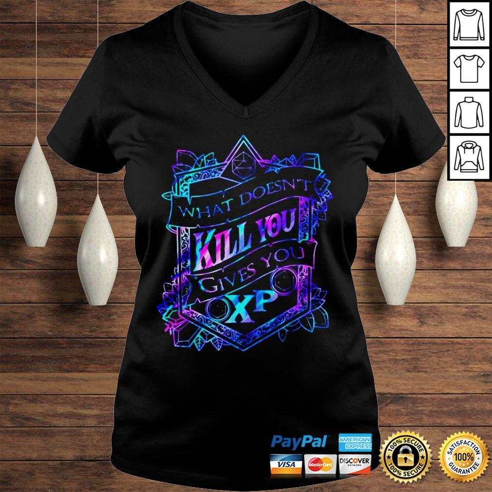 What doesnt kill you gives you XP shirt Ladies V-Neck