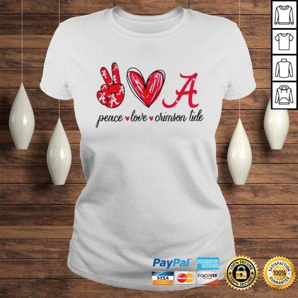 Peace Love Crimson Tide Shirt Classic Ladies Tee