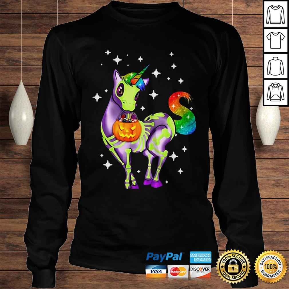 Official Unicorn Skeleton Halloween Pumpkin Hoodie Longsleeve Tee Unisex
