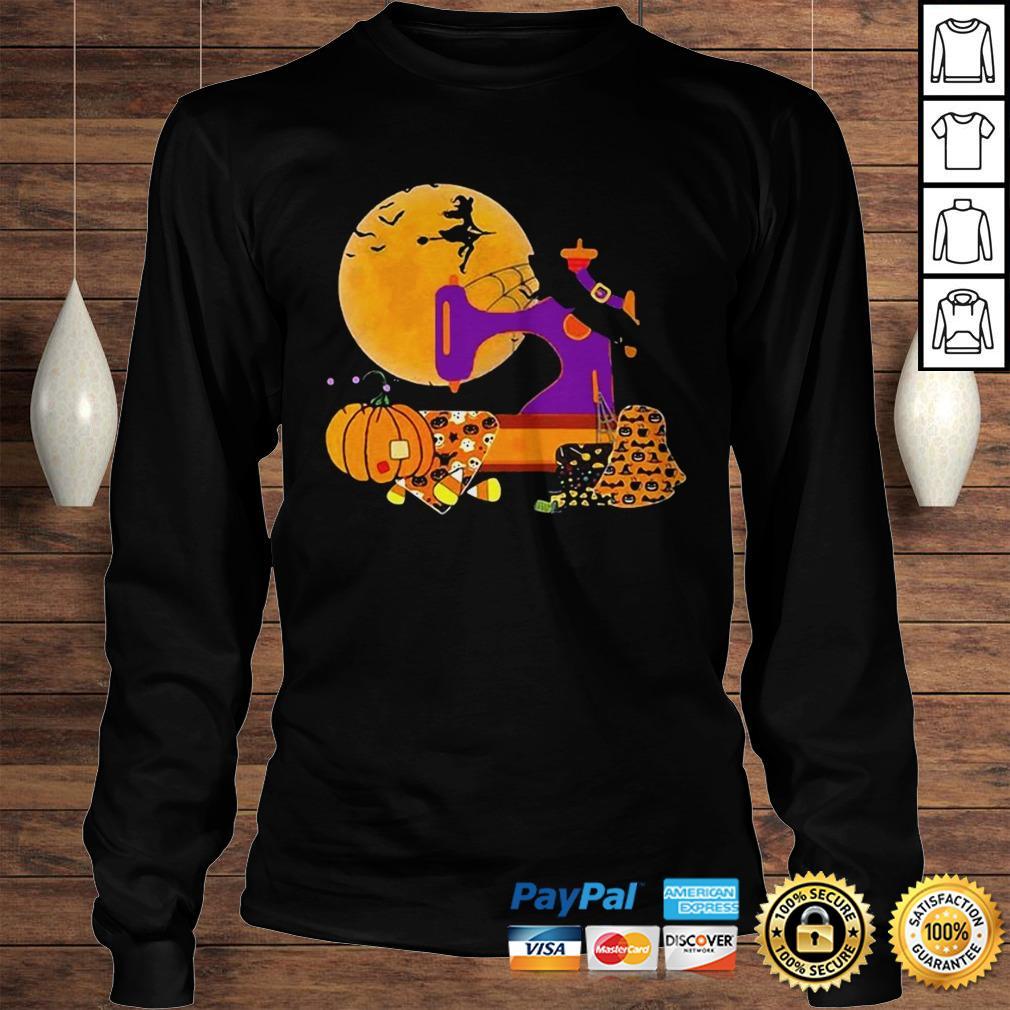 The Sewing Witch Pumpkin Blood Moon Halloween Shirt Longsleeve Tee Unisex