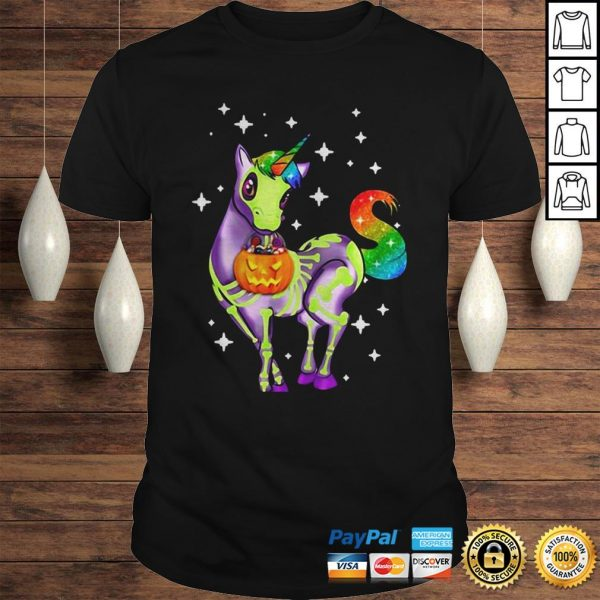Official Unicorn Skeleton Halloween Pumpkin Hoodie Shirt