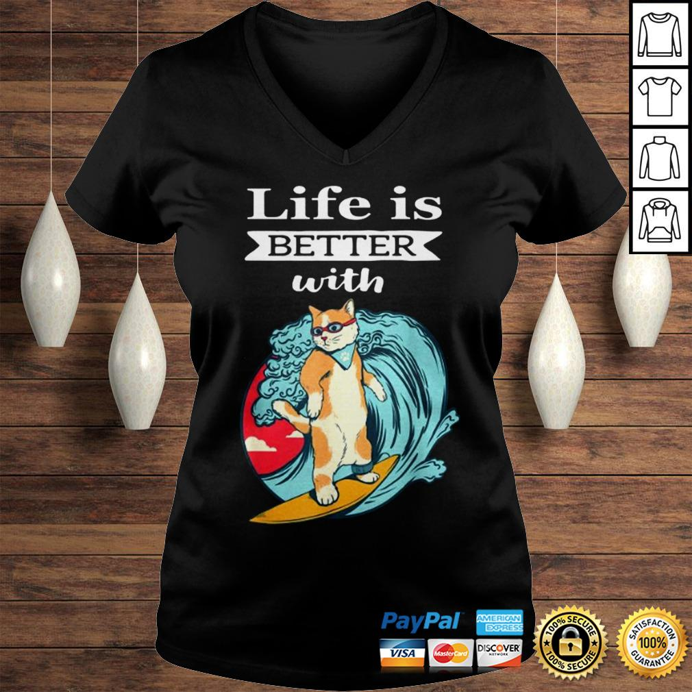 Cat Life Is Better With Cat Shirt Ladies V-Neck