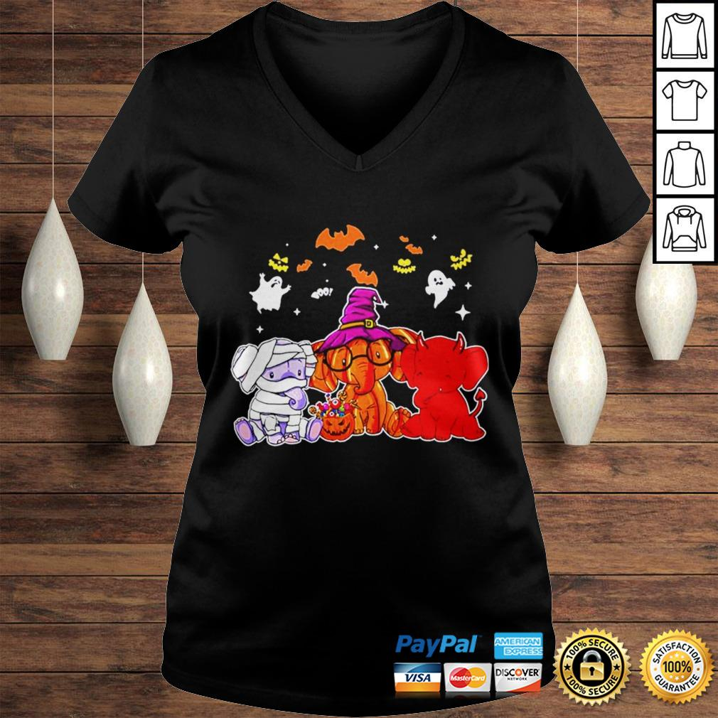 Elephant ghost halloween shirt Ladies V-Neck