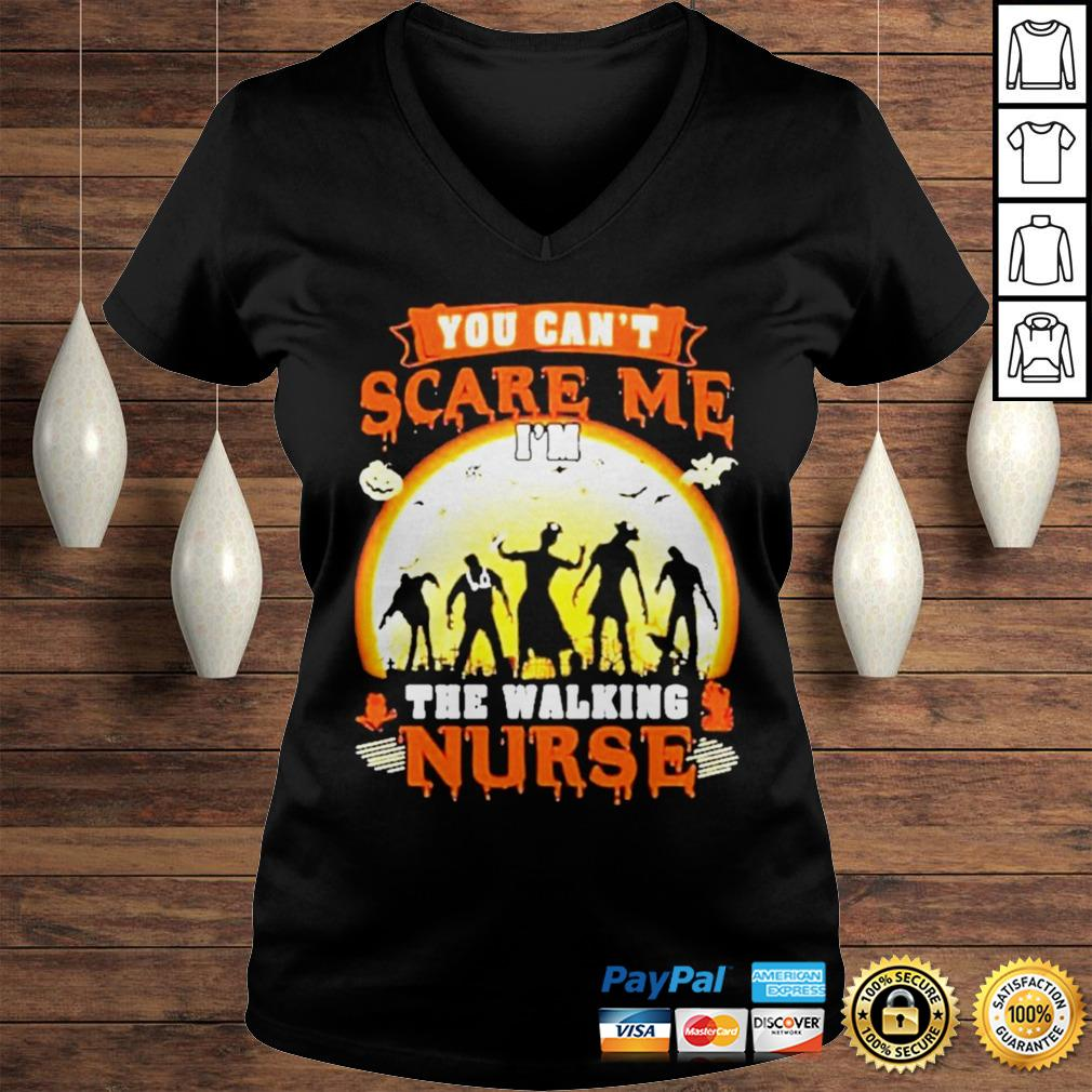 Halloween you cant scare me Im the walking nurse zombie 2020 shirt Ladies V-Neck