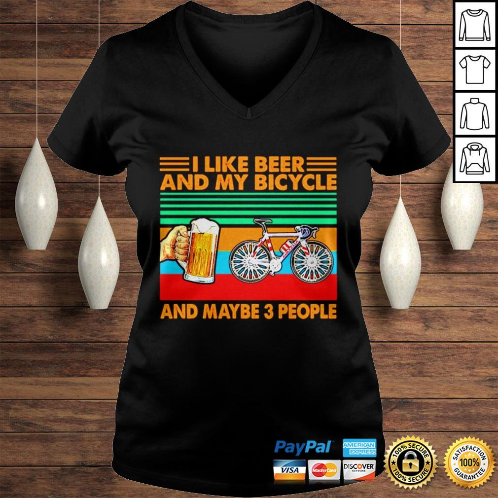 I like beer and my bicycle and maybe 3 people vintage shirt Ladies V-Neck