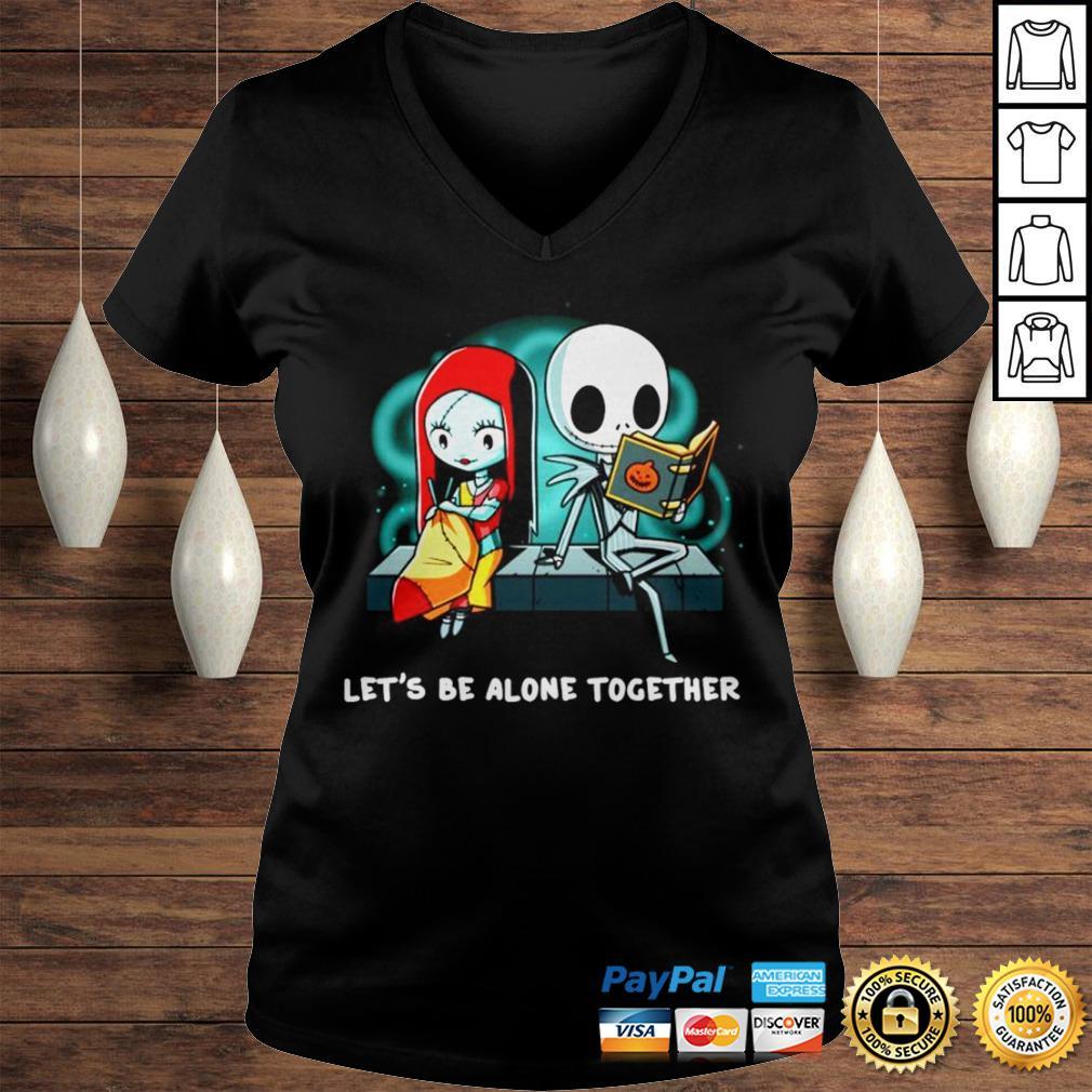 Jack Skellington and Sally lets be alone together shirt Ladies V-Neck