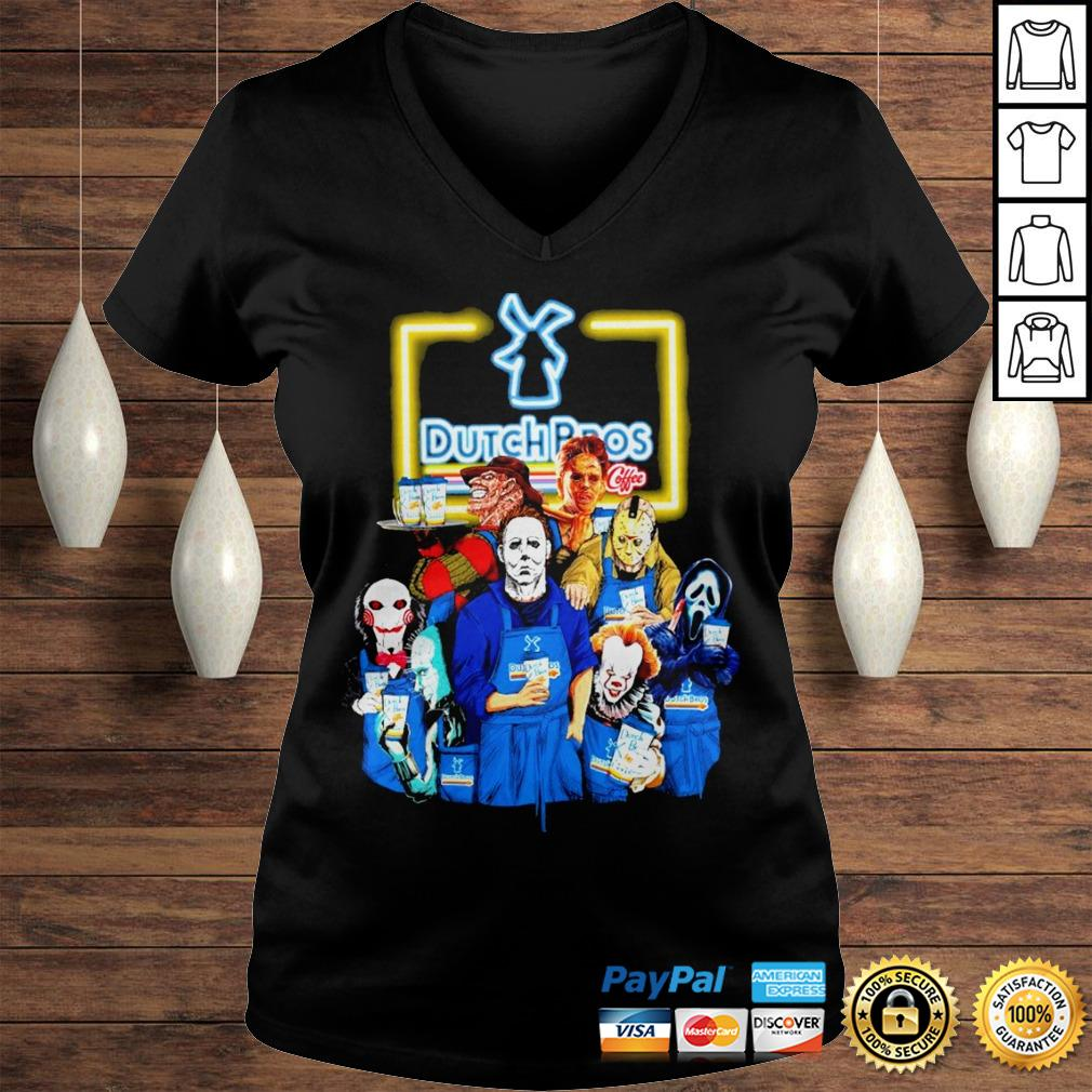 Official Horror Characters halloween Dutch Bros shirt Ladies V-Neck