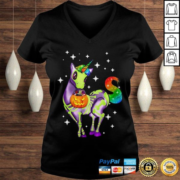 Official Unicorn Skeleton Halloween Pumpkin Hoodie Ladies V-Neck