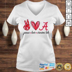 Peace Love Crimson Tide Shirt Ladies V-Neck