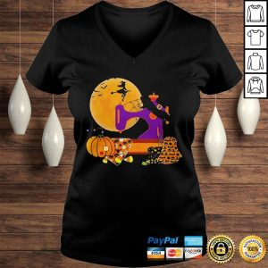 The Sewing Witch Pumpkin Blood Moon Halloween Shirt Ladies V-Neck