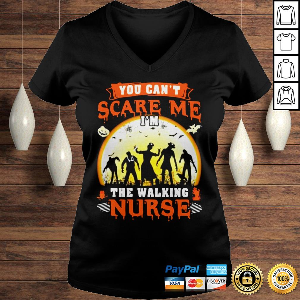 You Cant Scare Me The Walking Nurse Moon Halloween Shirt Ladies V-Neck