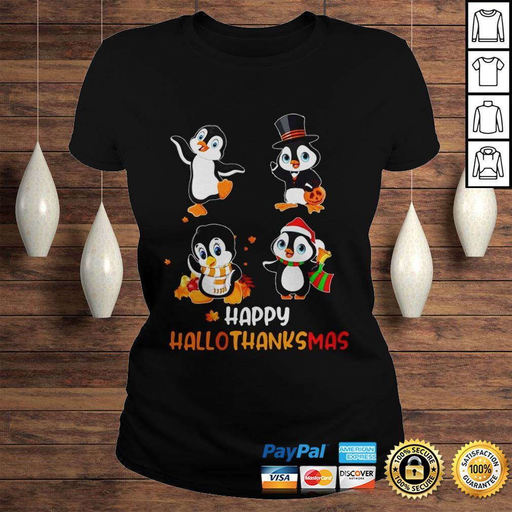 Penguin Happy Hallothanksmas Shirt Classic Ladies Tee