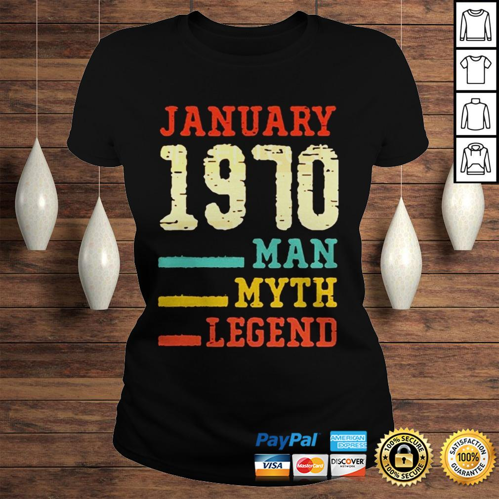 Vintage 50th birthday 1970 January Man Myth Legend TShirt Classic Ladies Tee