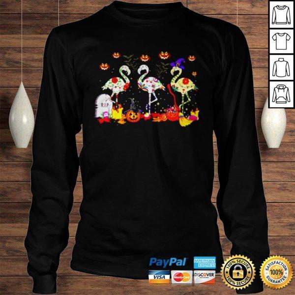 Flamingos In Costume Pumpkins Witch Grave Halloween shirt Longsleeve Tee Unisex
