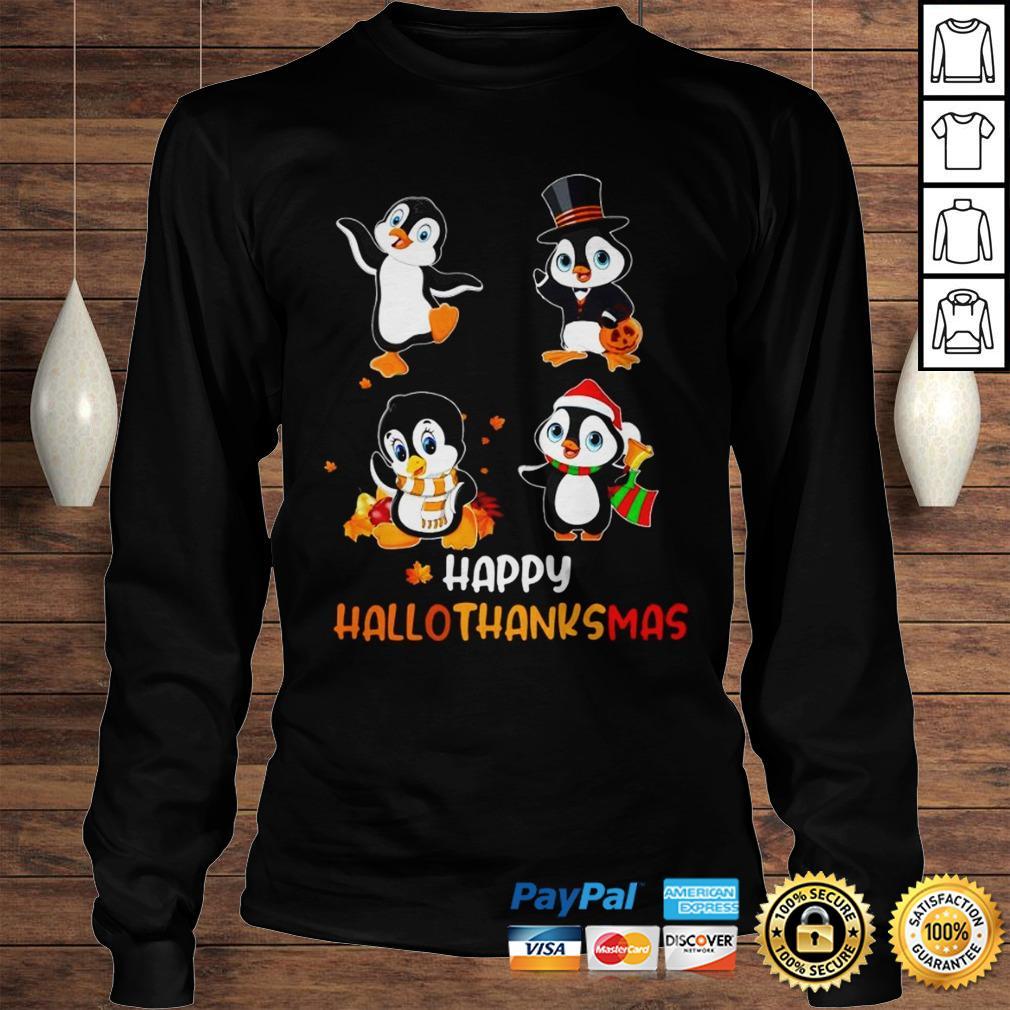 Penguin Happy Hallothanksmas Shirt Longsleeve Tee Unisex