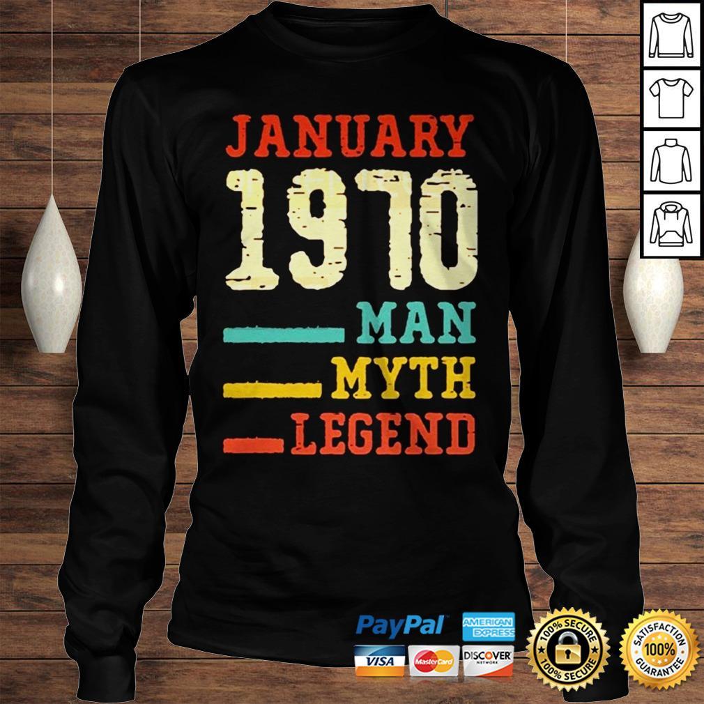 Vintage 50th birthday 1970 January Man Myth Legend TShirt Longsleeve Tee Unisex