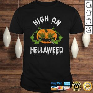 Pumpkin Weed High On Weed Halloween Hoodie Shirt