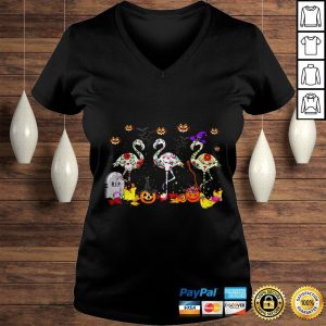 Flamingos In Costume Pumpkins Witch Grave Halloween Gift TShirt Ladies V-Neck