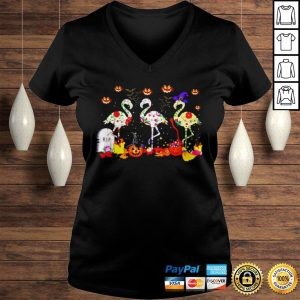 Flamingos In Costume Pumpkins Witch Grave Halloween shirt Ladies V-Neck