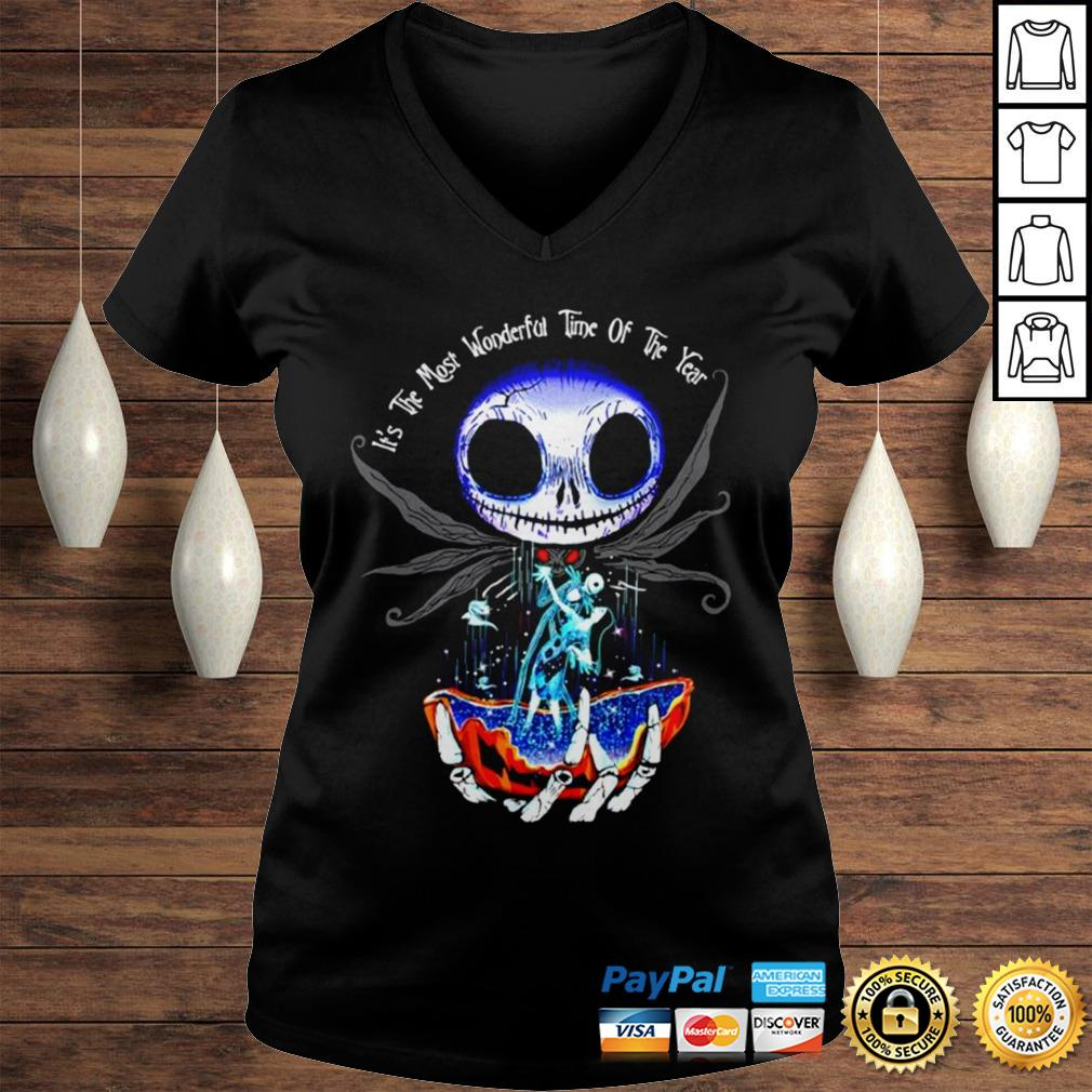 Jack Skellington and Sally its the most wonderful time of the year shirt Ladies V-Neck