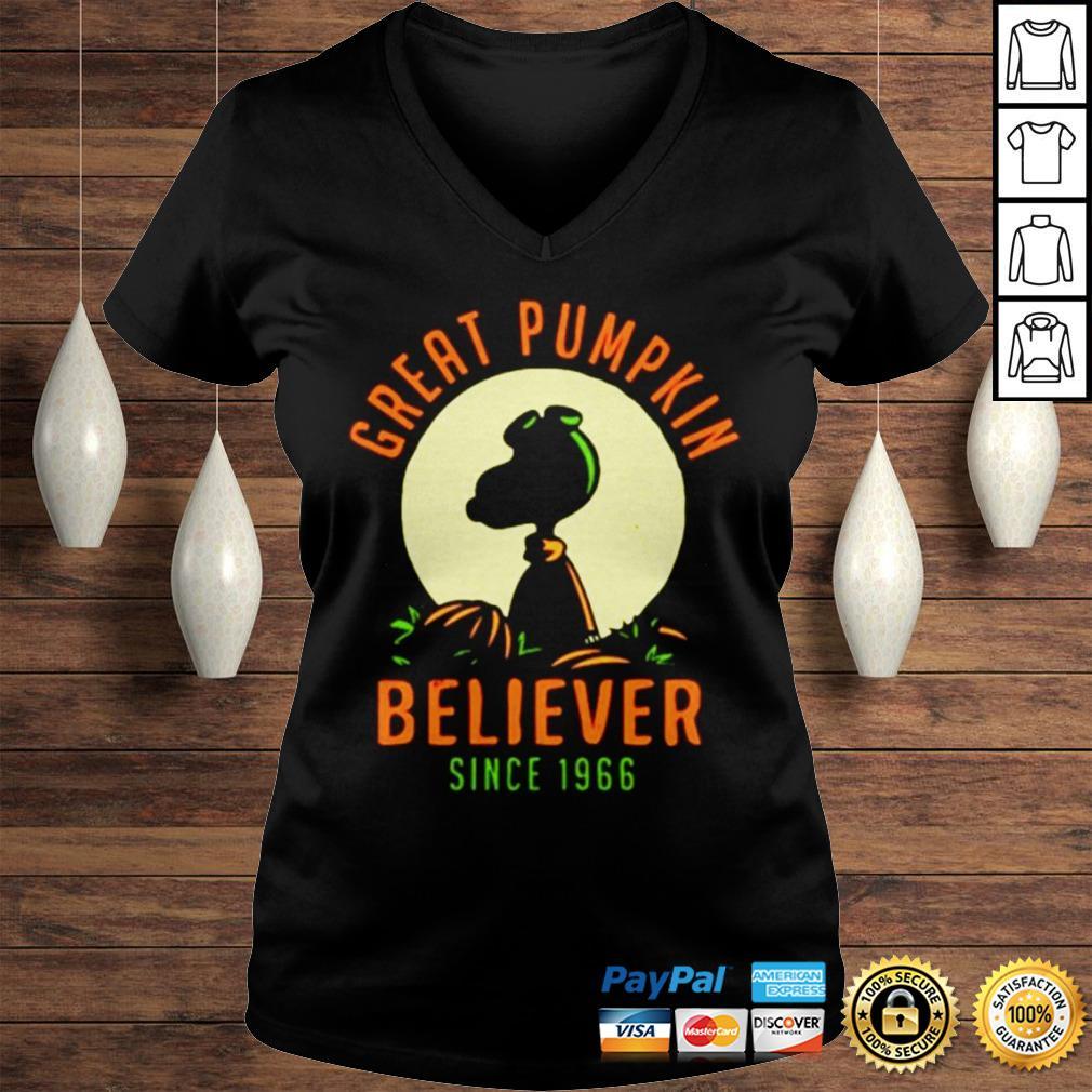Peanuts great pumpkin believer since 1966 shirt Ladies V-Neck