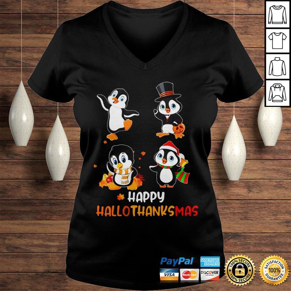 Penguin Happy Hallothanksmas Shirt Ladies V-Neck