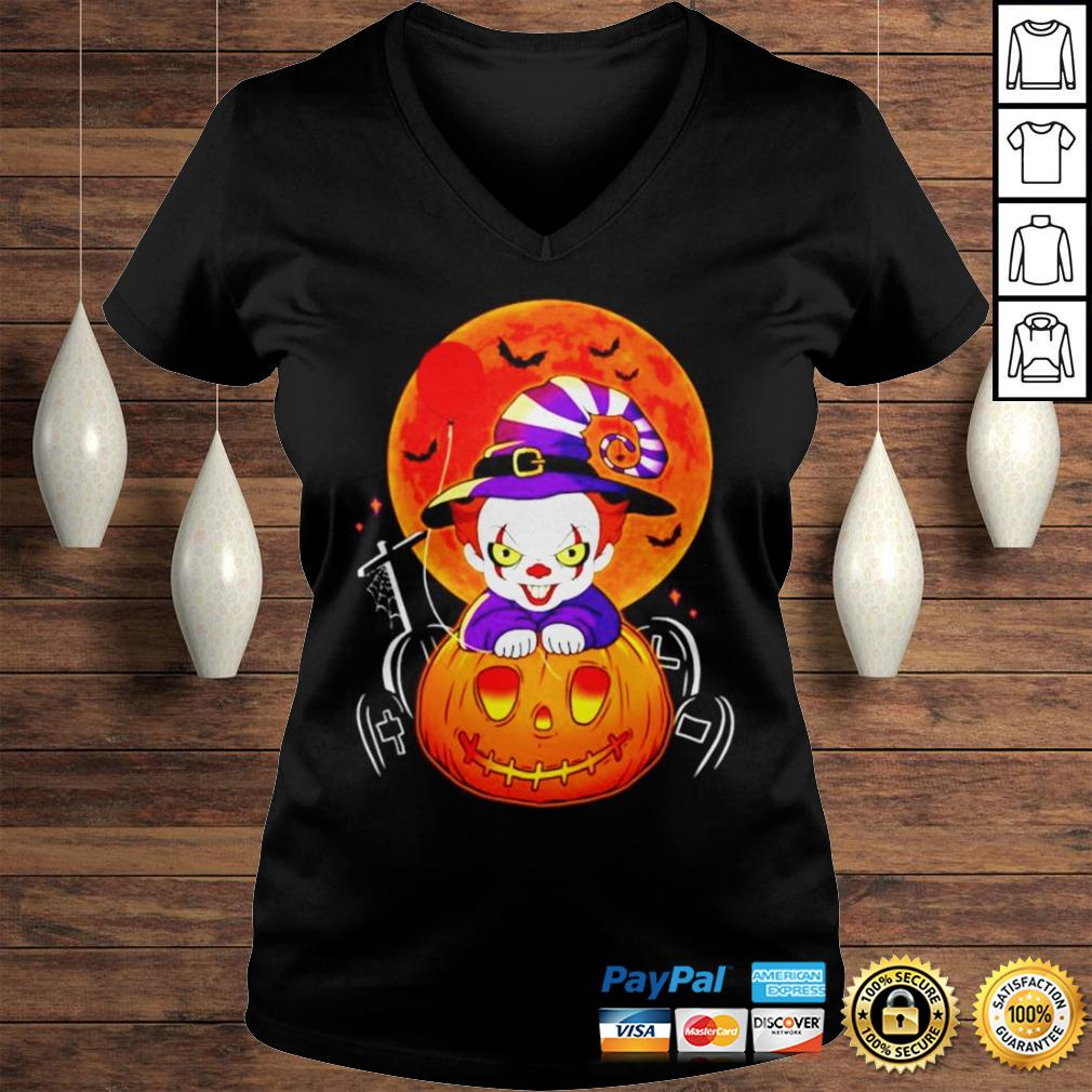 Pennywise pumpkin Halloween shirt Ladies V-Neck