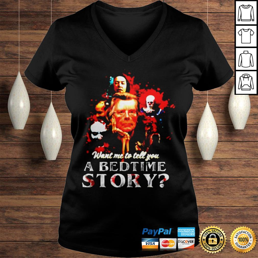 Pennywise want me to tell you a bedtime story Stephen King shirt Ladies V-Neck