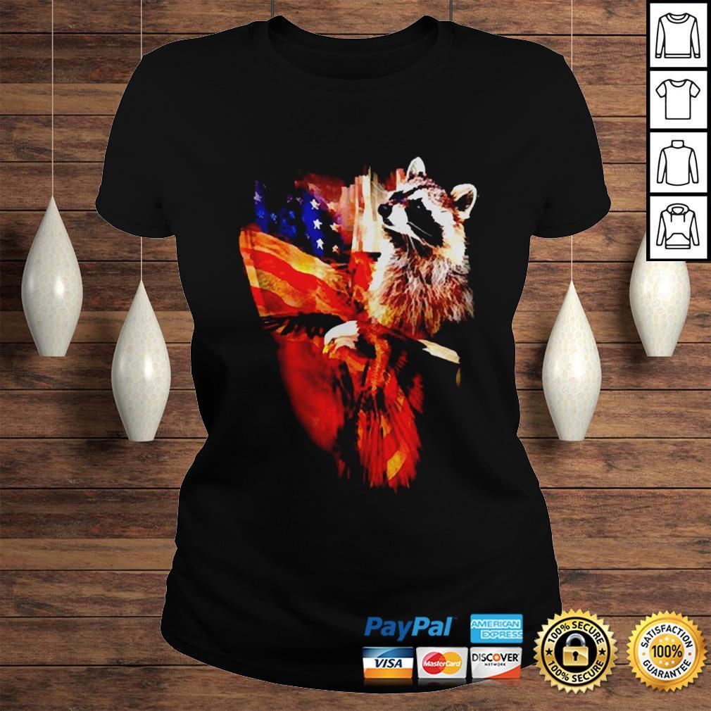Raccoon American flag wings shirt Classic Ladies Tee