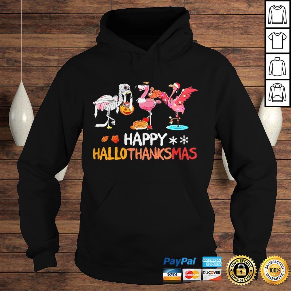 Flamingos happy hallothanksmas shirt Hoodie
